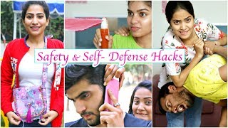 7 Life Saving SAFETY & SELF DEFENCE Hacks You Must Know .. | #Fun #Anaysa