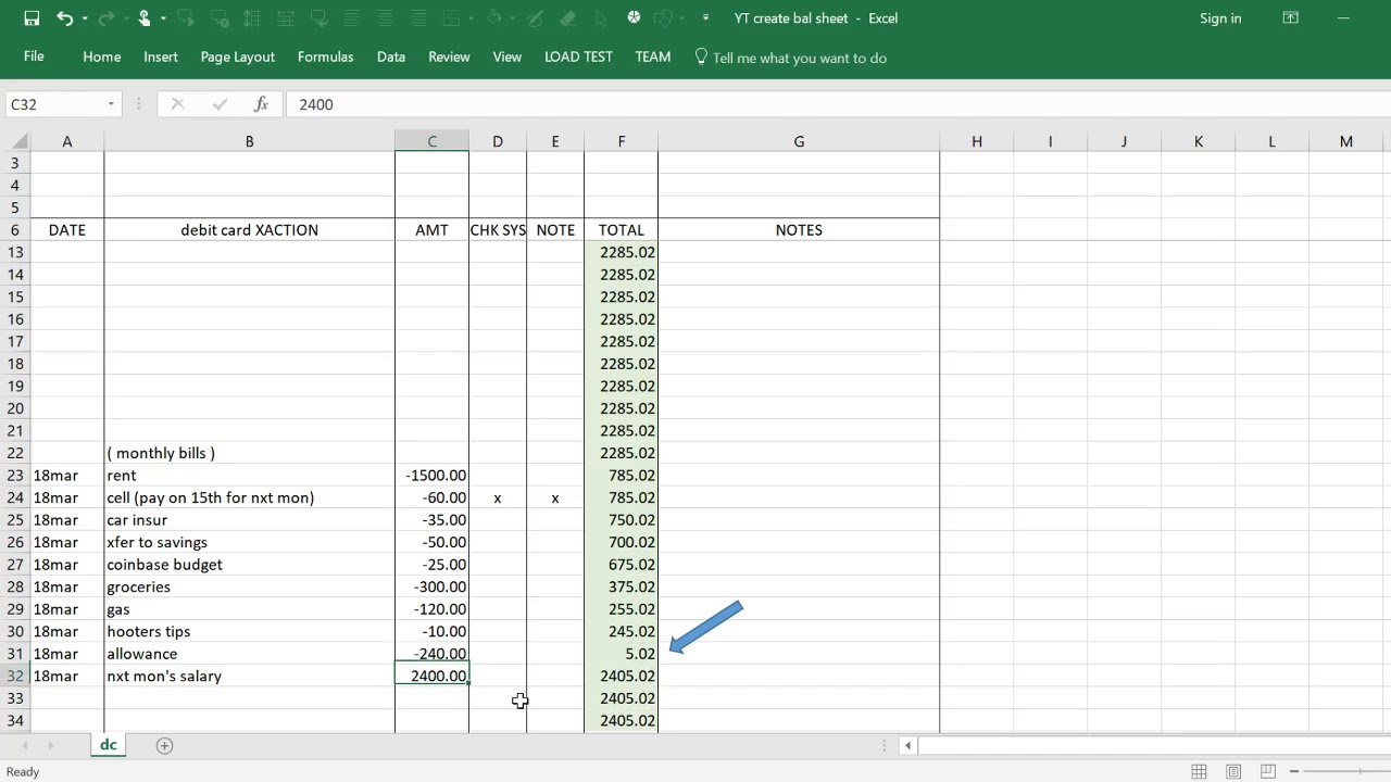 a simple budget tool using spreadsheet youtube