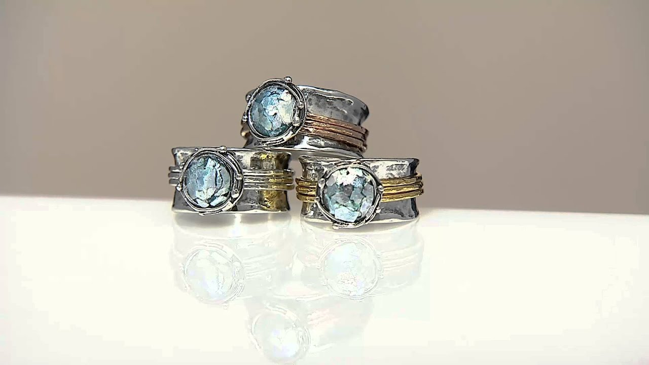 Sterling Silver Roman Glass Spinner Ring By Or Paz On Qvc