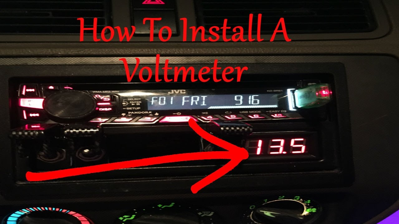 how to install a car audio voltmeter youtube voltmeter car install voltmeter wiring car [ 1280 x 720 Pixel ]