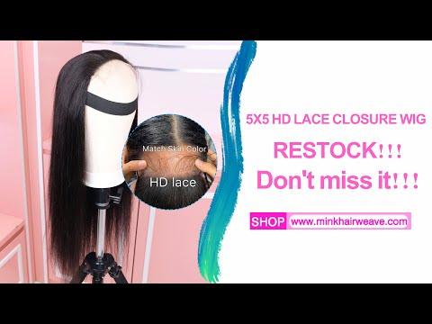 Mink Hair Weave New 4x4 5x5 HD Lace Closure Wig 200% ...