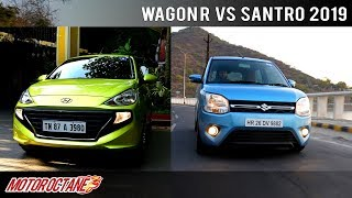 Maruti Wagon R 2019 vs Hyundai Santro Comparison   Hindi   MotorOctane