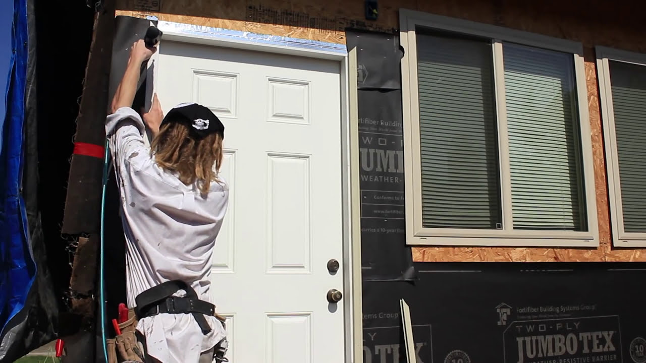 How to install a wooden stucco stop around a door - YouTube