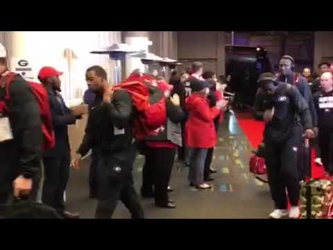 Georgia arrives for the 2018 National Championship Game