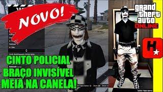 GTA V ONLINE (TRAJE MODDED CINTO POLICIAL) CONJUNTO MODEADO INVISÍVEL, XADREZ , MEIA NA CANELA