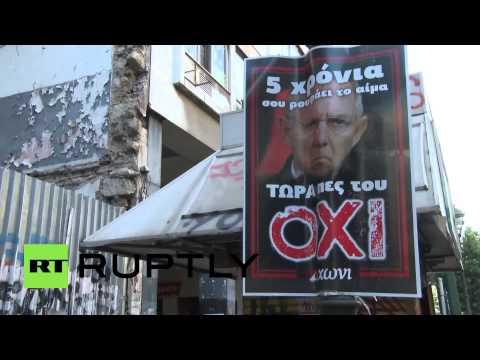 Greece: Communist KKE party march against bailout referendum and EU