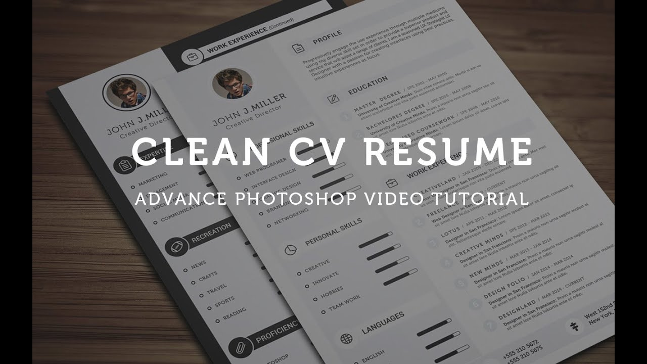 clean cv resume - photoshop tutorial
