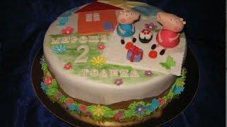 Торт Свинка Пеппа Peppa.    Торт Один Годик Девочке.