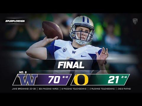 Highlights: No. 5 Washington defeats Oregon 70-21 at Autzen Stadium
