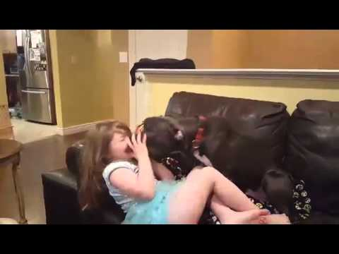 Pit Bull Clark Kent has a giggly smooch session with 3yo girl!