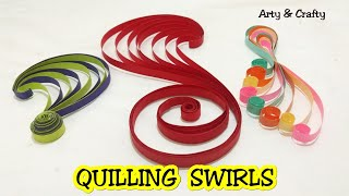 DIY 3 Quilling Swirls/ Paper Quilling Swirls Tutorial/ Basic Quilling For Beginners By Arty & Crafty