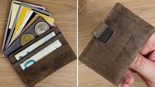 Vintage Leder Slim Wallet mit Münzfach & RFID Schutz von Goutallier // DEUTSCH