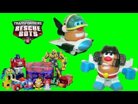 Mr. Potato Head Mashable Starscream Hero + Optimus Prime Captain America Bumblebee Playing