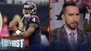 Nick Wright believes in Deshaun Watson a little more than Lamar Jackson | NFL | FIRST THINGS FIRST