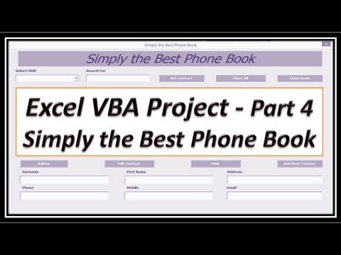 Excel VBA - Phone Book - Contact Manager - Phone List - Excel 2010 - phonebook by address