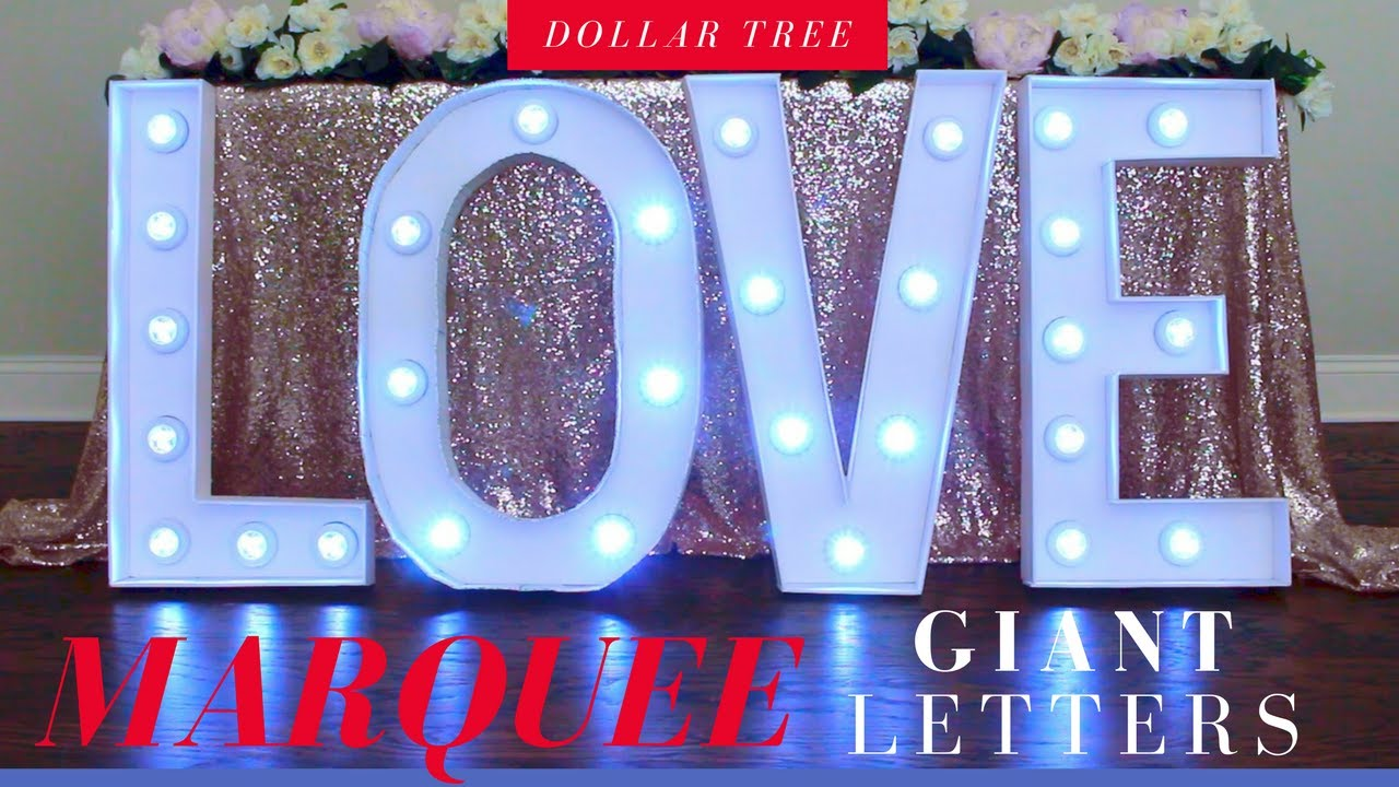 DIY Marquee Letters | DIY Giant Lighted Marquee Letters | Dollar Tree DIY