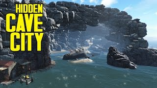 Fallout 4 - Cave Settlement Tour! Gigantic Cave Build! - Fallout 4 Ultrawide/21:9
