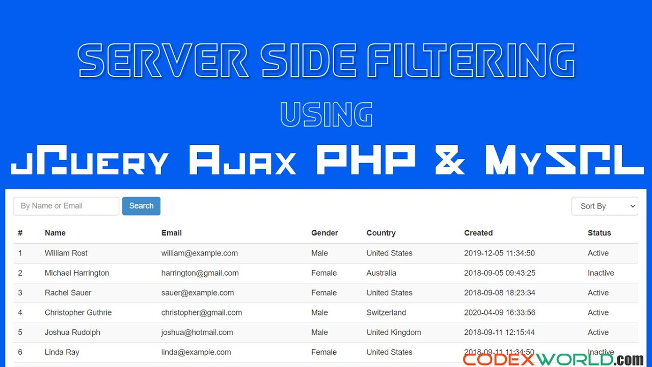 Server Side Filtering using jQuery, Ajax, PHP, and MySQL