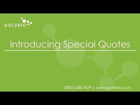 Video poster for GoldBio Special/Custom Quote Tutorial