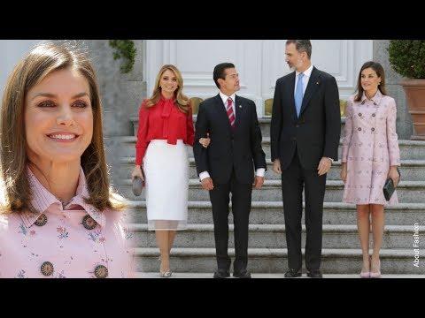 La Reina Letizia en duelo de estilo con Angélica Rivera Primera Dama de México con abrigo nuevo rosa