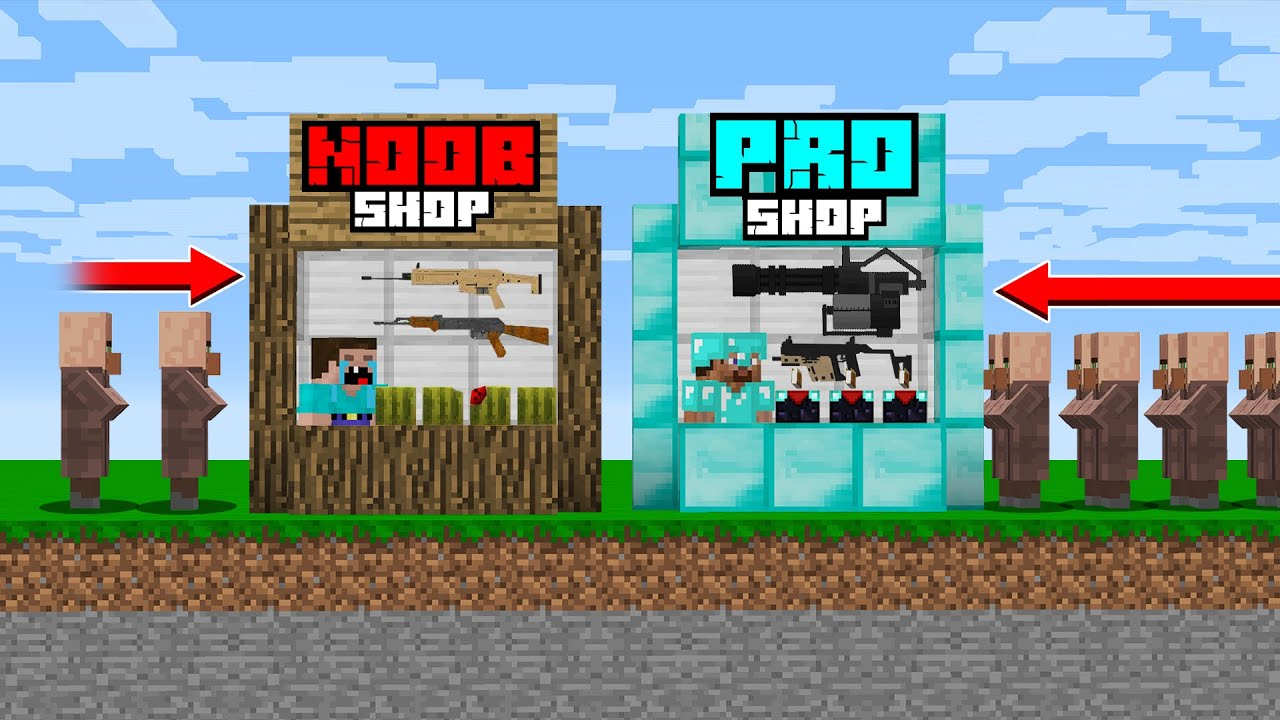 NOOB SHOP vs PRO SHOP! NOOB and PRO OPENED STORE in Minecraft Noob vs Pro