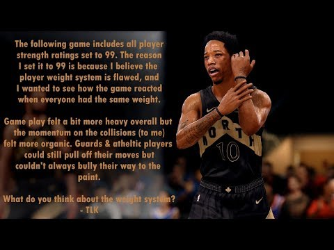NBA Live 18: Raptors vs Knicks - All Strength Rating Set to 99 | Experiment
