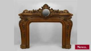 Antique French Louis Xv Style Walnut Fireplace Mantel With