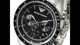 emporio armani ar5988 mens watch sportivo chrono silver black review アルマーニ シルバー ブラック レビュー メンズ