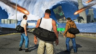 GTA 5 - Franklin, Michael & Trevor in a Natural Disaster! (Meteors, Tsunami & More)