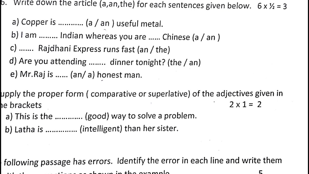 NCERT CLASS 6 English Sample Question