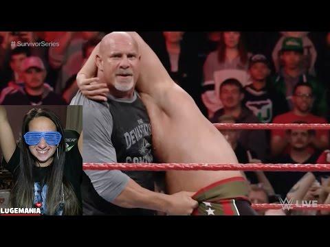WWE Raw 10/31/16 Goldberg Hits SPEAR And Jackhammer!