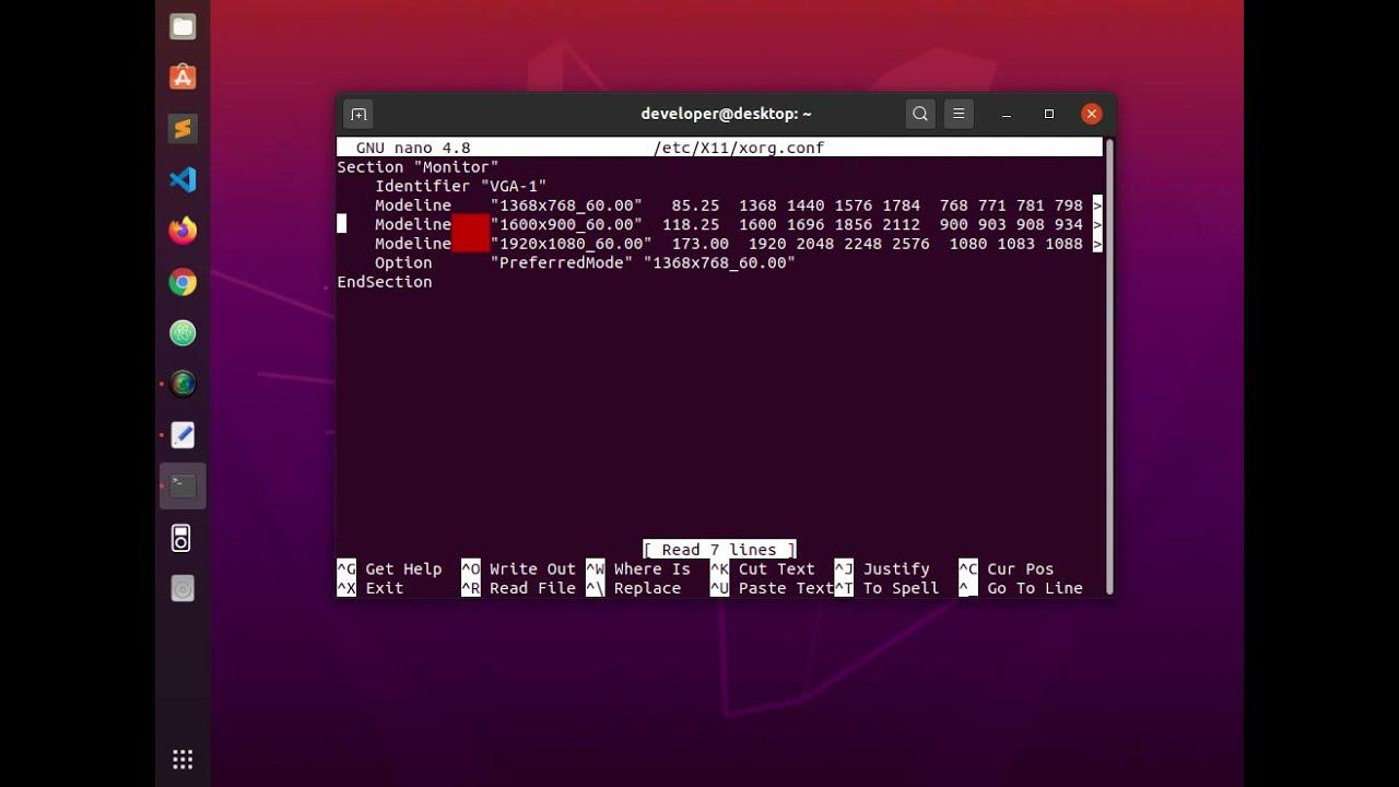 how to change screen resolution ubuntu