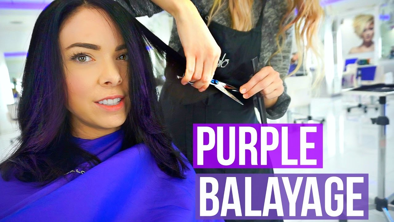 Come To The Salon With Me Dark Hair With Purple Balayage Youtube