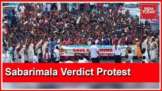 Devotees Stage Massive Protest Demanding Review Of SC Verdict On Sabarimala