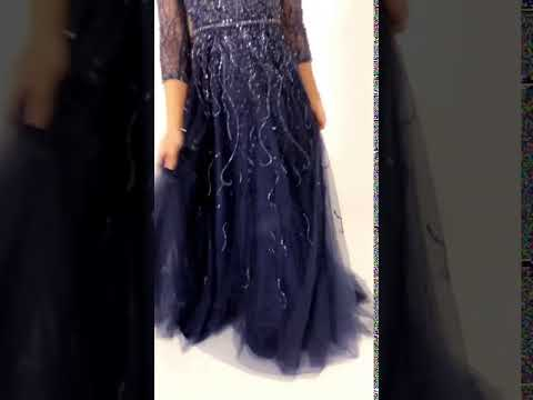 Portia and Scarlett Emmeline Navy Blue long sequin modest evening dress at SHAIDE!