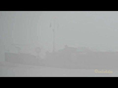 riverbarge inland cargo ship on fog voyage Emden Dollart Binnenschiff in Nebelfahrt