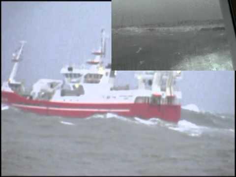 Pelagic Trawler Western Viking Leaves Rough Peterheadf  Filmed Fom Quay And Wheelhouse.mpg