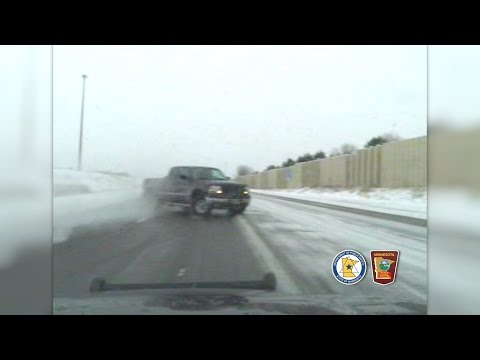 MSP Dashcam: Pickup Driver Loses Control On Icy Interstate