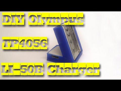 DIY Olympus LI-50B, Sony NP-BK1 Li-Ion Battery Charger Based On TP4056 + 3D Printing