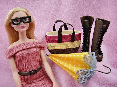6 DIY Barbie Miniatures - Dress, Belt, Bag, Shoes, Umbrella & Glasses