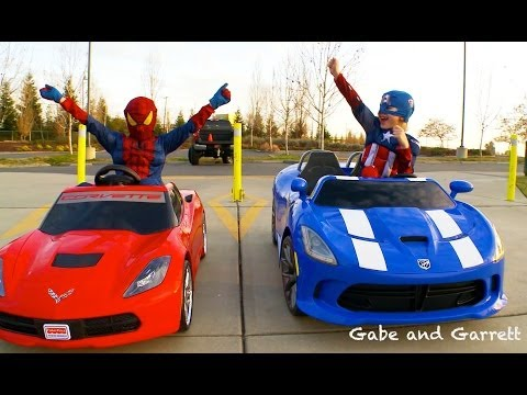 power-wheels-racing---spiderman-vs-captain-america-full-race-hd!