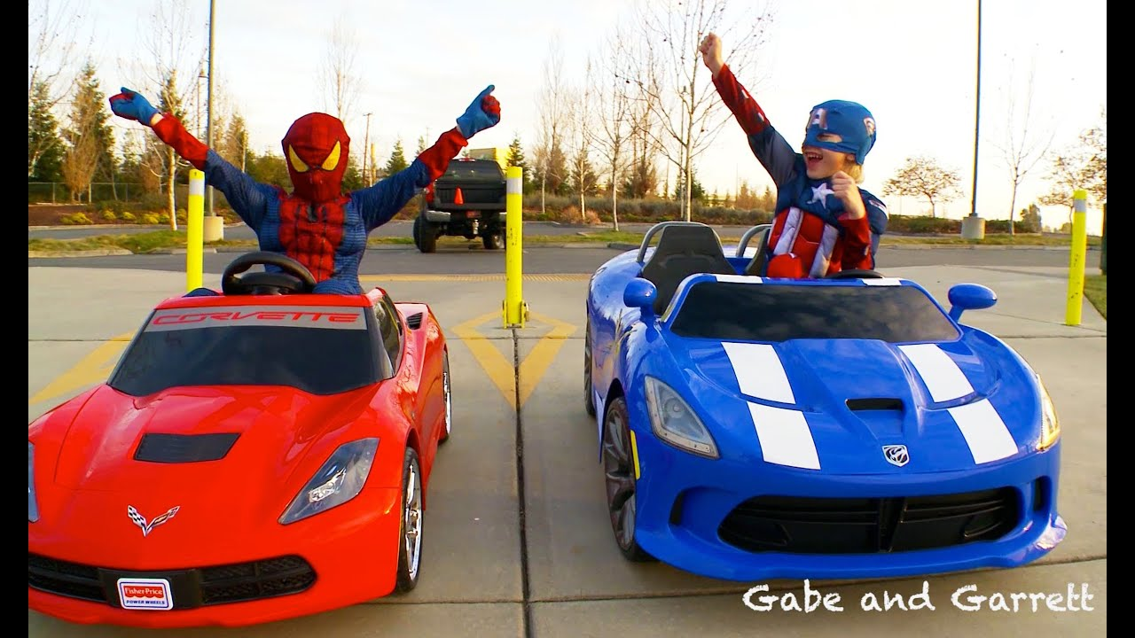 power wheels racing spiderman vs captain america full race hd youtube