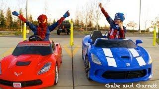 Repeat youtube video Power Wheels Racing - Spiderman vs Captain America Full Race HD!