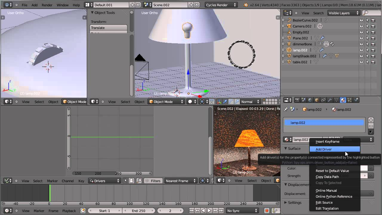 Blender 3D : Animating a lamp shade using drivers - YouTube