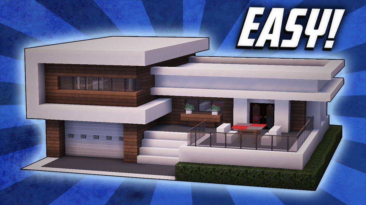 Minecraft how to build a large modern house tutorial 22 for Modern house mc