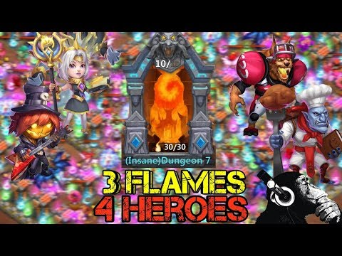 Insane 7 | All 3 Flames | 4 Heroes | Castle Clash
