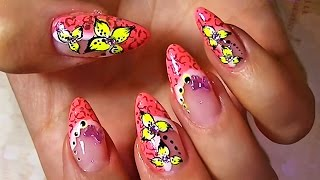 Дизайн ногтей. Рисунки на ногтях - цветы. Яркий маникюр.