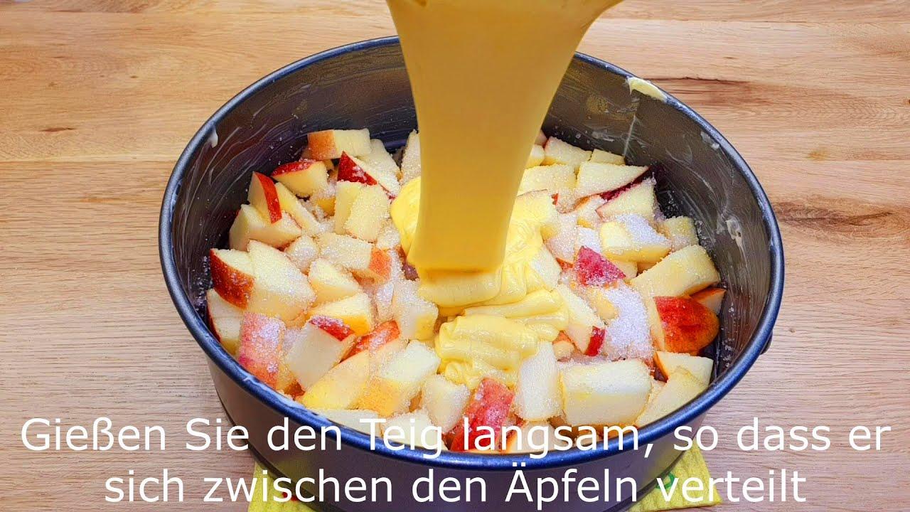 Download schnelles und einfaches Apfelkuchen Rezept, 5 Minuten Arbeit und 25 Minuten Backen #139