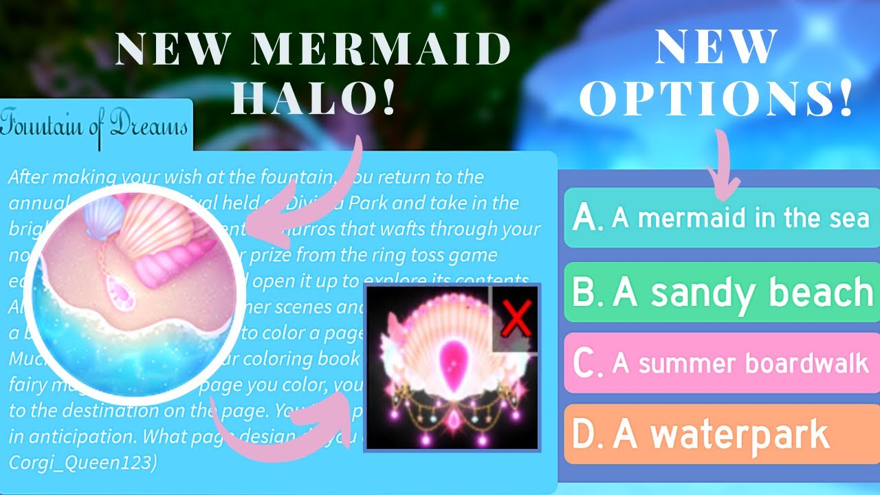 New Mermaid Halo 2020 Checking Out The Fountain Story Options Royale High Roblox Youtube