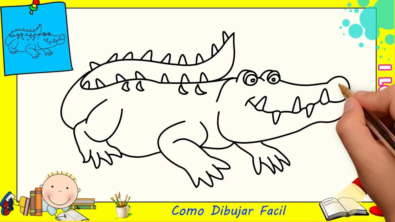Como Dibujar FÁcil MÉtodo Para Principiantes Y Como: Como Dibujar Un Cocodrilo FACIL Paso A Paso Para Niños Y